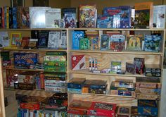 Books, playing cards, games and toys.