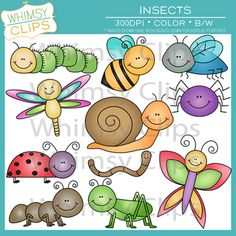 This colorful insect clip art pack contains 11 insect designs in png and jpg formats. All 11 image designs come in both color and black &amp. Insect Clipart, Owl Clip Art, Whimsical Art, Cute Illustration, Easy Drawings, Rock Art, Doodle Art, Scrapbooks, Baby Quilts