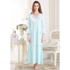 36cba9b6f3 Free Shipping Princess Style Women Nightgowns Long-Sleeve Lace V-Neck Cotton  Nightdress Ankle-Length Ruffles Sleepwear PT1608  Affiliate