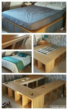 118 Money Saving Ikea Hacks To DIY You Wont Want To Miss! These Ikea Hack Ideas are perfect if you love DIY home decor on a budget! Platform Bed With Storage, Diy Platform Bed, Diy Double Bed, Floating Platform, Under Bed Storage, Expedit Regal, Ikea Regal, Murphy Bed Ikea, Small Spaces