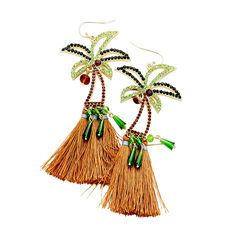 Dreaming of tropical paradise, these cute dangling earrings have colorful crystals outlining tropical palm trees. Diy Earrings Dangle, Statement Earrings, Earrings Handmade, Hippie Goth, Earring Tree, Tropical Paradise, Palm Trees, Birthday Gifts, Aesthetics