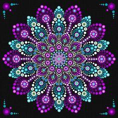 Purple Aqua Mandala Boho Hipster Dot Mandala Mandala Print