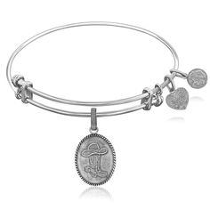 Expandable Bangle in White Tone Brass with Cowboy Hat And Boot Symbol