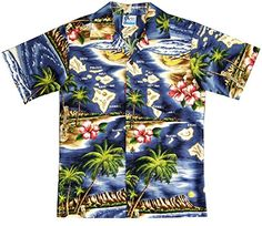 7d62a6bd RJC Boys Hibiscus Hawaiian Island Shirt in Navy Blue - 16 Coconut buttons  Straight bottom hem Pocket not matched Back yoke with side pleats Please  refer to ...