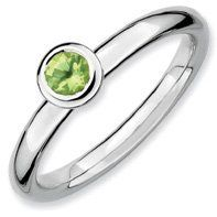 0.29ct Silver Stackable Low 4mm Round Peridot Ring. Sizes 5-10 Jewelry Pot. $22.99. 100% Satisfaction Guarantee. Questions? Call 866-923-4446. 30 Day Money Back Guarantee. All Genuine Diamonds, Gemstones, Materials, and Precious Metals. Your item will be shipped the same or next weekday!. Fabulous Promotions and Discounts!. Save 65%!