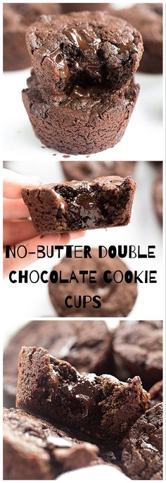 No-Butter Double Chocolate Cookie Cups: rich, soft, gooey double chocolate cookie cups packed with chocolate chunks. So easy! | TrufflesandTrends.com