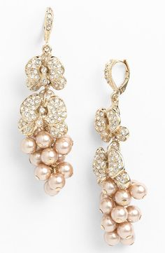 Givenchy Crystal & Faux Pearl Linear Earrings