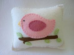 Pink bird pillow -- I just love, love, love this little birdie and would like to make it in lavenders and blues.