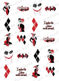 20-NAIL-TRANSFER-DECALS-DC-COMICS-HARLEY-QUINN-BATMAN-WATER-SLIDE-NAIL-DECALS