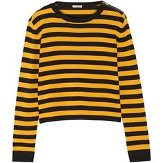 Miu Miu Striped wool-blend sweater (440 CAD) ❤ liked on Polyvore featuring tops, sweaters, jumpers, shirts, loose sweater, yellow stripe shirt, loose fitting shirts, stripe sweater and zip sweater