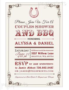 Couples Shower Backyard BBQ Invitation - Country Western Poster (Printable)