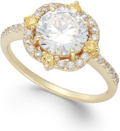 B. Brilliant Cubic Zirconia Fancy Halo Ring in 18k Gold over Sterling Silver