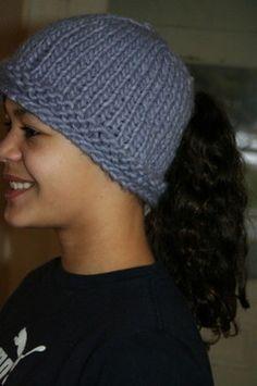 Knit Hat Pattern Ponytail Hole : Ponytail hat Crochet ponytail hat Pinterest Just ...
