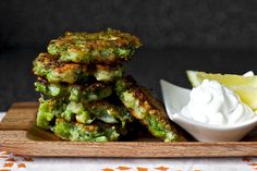BROCCOLI FRITTERS.   • 3 cups chopped broccoli (1/4 inch cubes, steamed till tender) • 1 egg (beaten) • 1/2 cup flour (I...