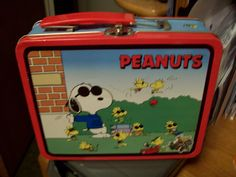 Peanuts Snoopy Tin Lunch Box with Joe Cool Great for Storage or for the Peanuts Collector Lid Opens and has a metal clasp to hold your stash by consignments on Etsy
