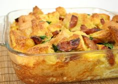 This Smoked Sausage Bread Pudding Casserole is fast and easy! Featuring JOHNSONVILLE® Three Cheese Italian Style Premium Cooking Sausage, spinach, sourdough bread and eggs! Even the pickest eaters will love it!- Johnsonville.com
