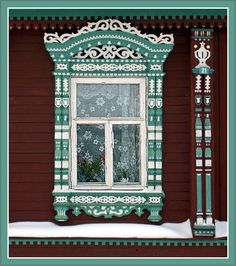 Russian wooden house, window with ornate platbands Wooden Architecture, Russian Architecture, Architecture Details, Wooden Window Frames, Wooden Windows, House Windows, Windows And Doors, Traditional Windows, Open Window
