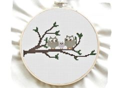 Owl Family Cross Stitch Pattern  Simple beginner by GreatHome, $2.00