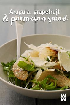 Move over, Caesar salad! This refreshing arugula, grapefruit and parmesan salad is the perfect way to shake up your salad routine. What's your favourite surprising salad topping?