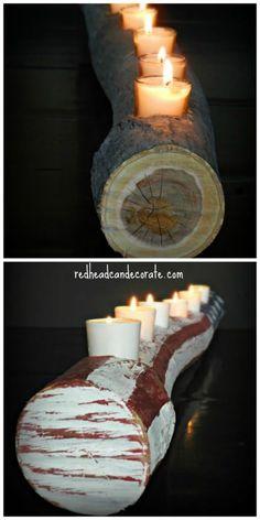 Wood Log Candle