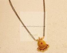 Gold Mangalsutra - 22K Gold Mangalya Chain - rubies, emeralds, pearls, Bridal Gold Mangalsutra with broad pendant, 22kt Long Bridal Gold Mangalsutra