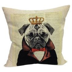 """Bring a pop of charming style to your sofa or favorite reading nook with this down-filled pillow, featuring a regal pug motif.  Product: PillowConstruction Material: Cotton and polyester blend coverColor: MultiFeatures: Insert includedDimensions: 20"""" x 20""""Cleaning and Care: Dry clean only"""