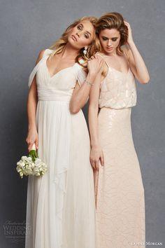 donna morgan bridal bridesmaid dresss colette gown shoulder drape olivia blouson sleeveless gown #bridesmaid #bridesmaidsdresses