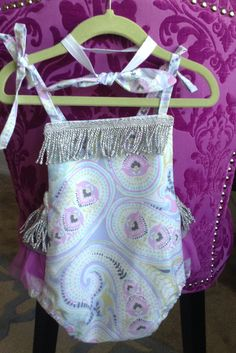 Lavender Paisley Print Baby Girl Romper with silver trim and a custom headband, Sunsuit, Jumper, Girl Clothes, Isabella Size 12-18 months by 3LittleBoykins on Etsy