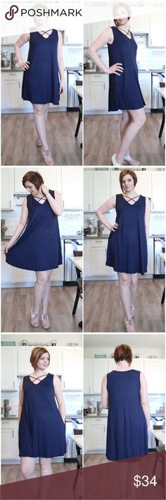 Criss Cross Neck Jersey Knit Dress This lovely dress has criss-cross binding at neckline. This dress is made with soft knit jersey and drapes well. This dress is simple, yet stylish. It even has pockets! Made In USA Color:Navy AJ's Threads Dresses Midi