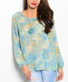 Look at this Light Blue Floral Top on #zulily today!