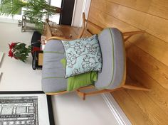 Re-covered Ercol chair. Blue piping to match smeg cooker?