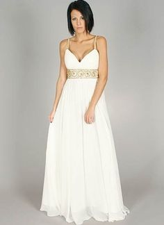 embellished empire waist gown