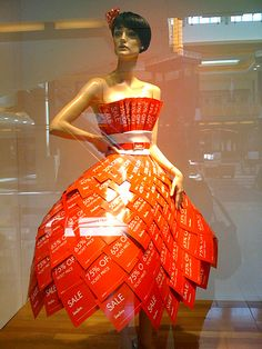 dress made from paper sale sheets from Neiman Marcus.