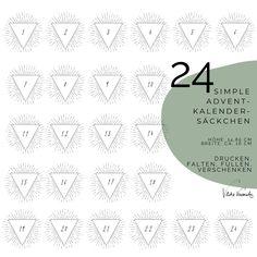 24 Adventkalendersäckchen mit Dreiecken (klein) - VLIKEVERONIKA | DIY. UPCYCLING. BASTELN.