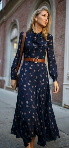 Click for outfit details! Navy floral tie-neck maxi dress with navy suede stiletto pumps, a brown leather circle waist belt and a brown leather cross body bag {Reformation, Jimmy Choo, Frame, Ralph Lauren, Chanel, what to wear to meet the parents, classic style, classy dressing, fashion blogger, winter style}