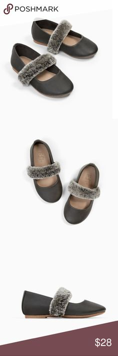 NWT ZARA Faux Fur Ballerinas Shoes Size 6 Zara Faux Fur Ballerinas  Super cute on! Size:6 Color: Grey Zara Shoes Dress Shoes