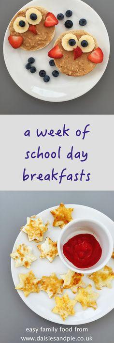 week of school day breakfasts, kids breakfast ideas, healthy kids breakfasts, easy family food from daisies and pie