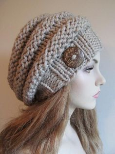 Bulky Slouch Beanie Beret Beehive Hat via Craftsy