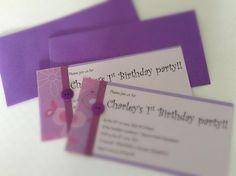 Little girls 1st birthday party invites