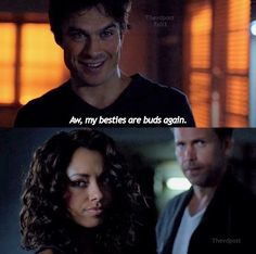 "#TVD 7x03 ""Age of Innocence"" - Damon, Bonnie and Alaric hahaahhhahhahaha I love these three working together"