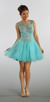 Short Mesh Baby Blue Homecoming Dress Illusion Neckline Poofy Skirt (3 Colors Available)