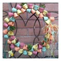 miniature terra cotta flower pot wreath, crafts, gardening, repurposing upcycling, wreaths