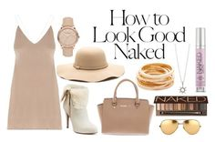 """""""Nudes"""" by nikkicouture ❤ liked on Polyvore featuring Industrie, Jennifer Lopez, Michael Kors, Linda Farrow, Urban Decay, Burberry, Kenneth Jay Lane, chic, classy and Nudes"""