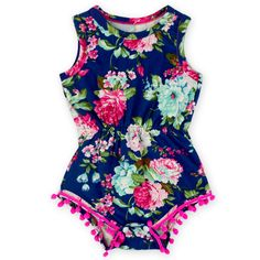 "NEW! These rompers are made of a super soft stretchy fabric for the comfortable fit SIZES: Small-0-6 Months: Length 13.5"" Width 8"" Medium-6-12 Months: Length 16"" Width 10"" Large: 1-2T - Length 18.5""/W"