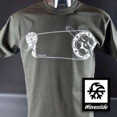 Camiseta carrera circuito BTT MTB bicicleta bicicleta ilustración Waveslide en gris oscuro. Clásico Impresión con Plastisolfarbe de la pantalla. 100% algodón, tamaño S-XXL (normalmente caen), sin uso. Anchura de envío: €2,60.