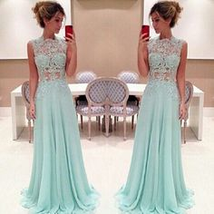 Simple Dress Lace High-neck Long Chiffon Light Sky Blue Prom Dresses/Evening Dresses/Formal Dresses