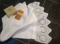 Lovely White Vintage French Damask Hand Towel with Deep Crochet Edge and Drawn Thread Work. by fleursenfrance. Explore more products on http://fleursenfrance.etsy.com