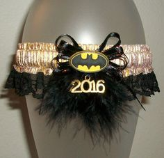 Gold and Black Lace Batman Superhero Sparkle Shimmer Feather Fur Glitz Wedding or Prom 2016 Garter