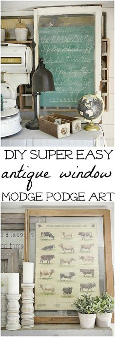 DIY antique window art - A quick & easy diy art idea. A must pin for super… Inexpensive Home Decor, Unique Home Decor, Vintage Home Decor, Cheap Home Decor, Diy Home, Home Crafts, Diy Crafts, Diy Décoration, Easy Diy