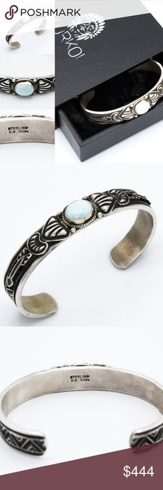 """Navajo Dry Creek Turquoise Sterling Cuff From our collection to yours, this Sterling Silver cuff was handcrafted by Navajo Nation's fine silversmith Tsosie White. Featuring repousse appliques depicted in the arrow design, perfectly accenting his hammer silver work . Featuring a .5' by .3""""  Natural Dry Creek Authentic Mined Cabochon, which is extremely rare and no longer being mined.  This bracelet is a one of a kind handmade item displaying slight variation on the end hammer work, repose…"""